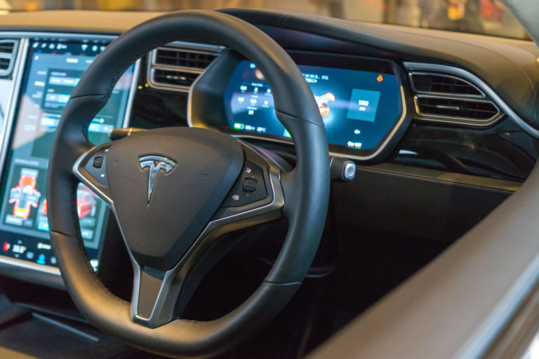 tesla car steering wheel